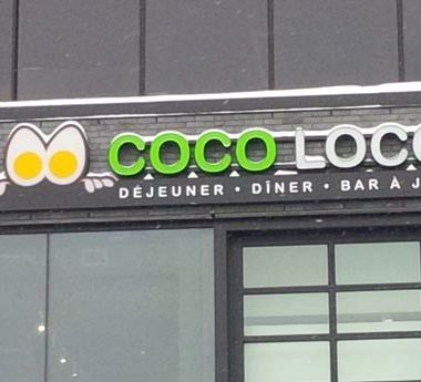 restaurant coco loco  – Griffin town – front lit channel letters