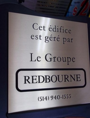 building management-redbourne-brass engraved plaque