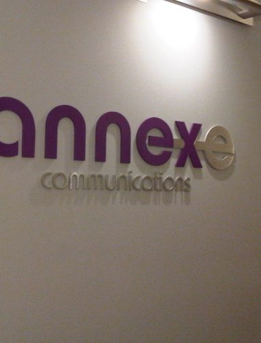 Annexe – mix of brushed aluminium and painted acrylic letters