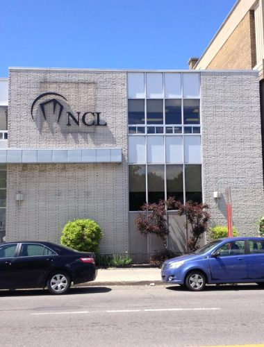 ncl fabricated stainless steel letters and logo painted black