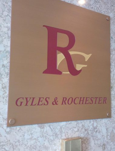 lawyer office gyles rochester – copper etched paint filled plaque