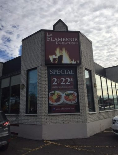 restaurant la flamberie perforated window vinyl