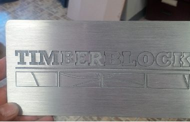 Construction- timberblock- engraved aluminium plaque 1/8""