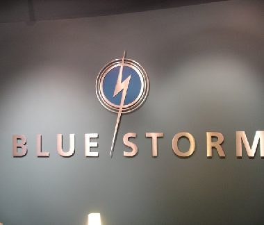 Blue-Storm brushed aluminium logo