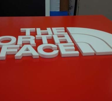 NORTHFACE acrylic letters on aluminium carrier box