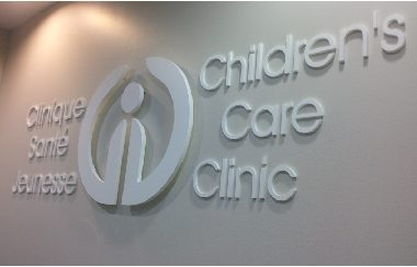 children care clinic- white acrylic letters
