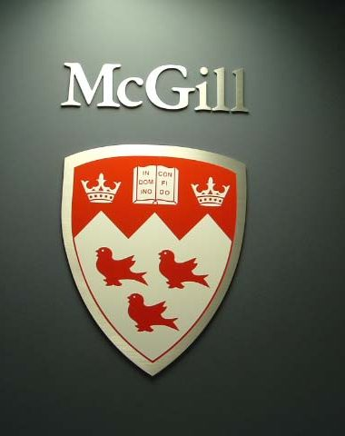 Mcgill university metal cresit with vinyl face
