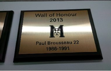 mcgill athletics-wall of honor-plaque engraved