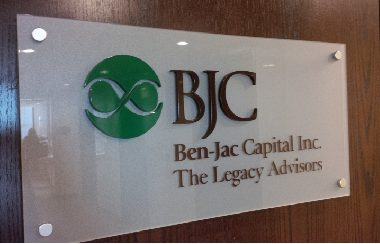 BJC office plexiglass backer panel with acrylic dimensional letters
