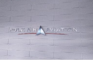 Pole Air Aviation brushed aluminium metal letters and fabricated stainless steel illuminated logo