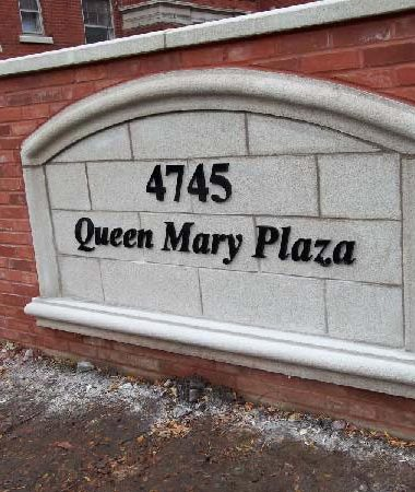 queen mary- building management – black acrylic letters