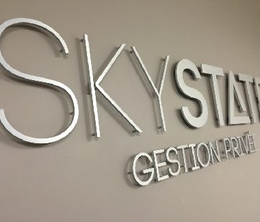 skystate brushed aluminium letters