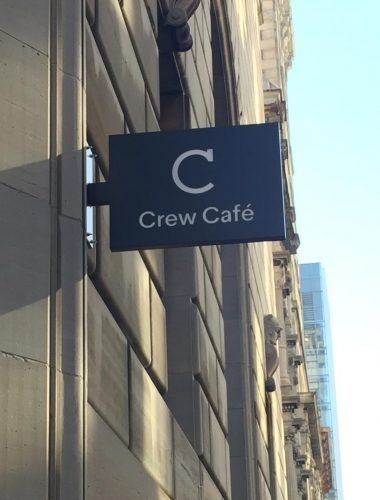 Crew cafe projected aluminium sign