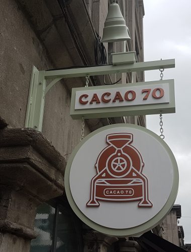 cacao 70 projecting double sided sign